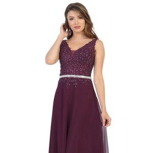 Embroidered Plunging V-neck A-line Gown